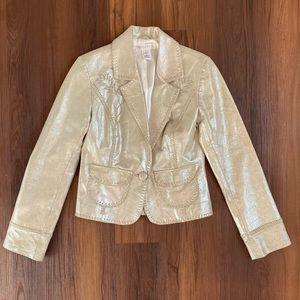 WHBM silver gray metallic leather blazer jacket